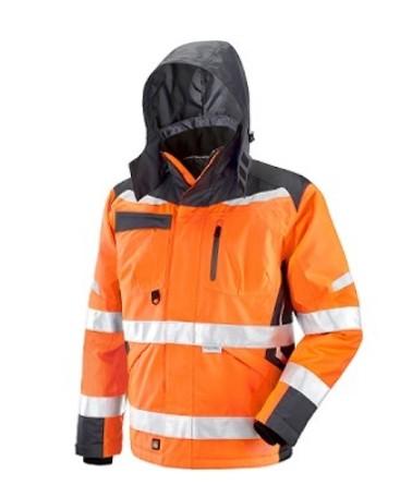 Giaccone in Poliestere Oxford/PU Triplo Uso. Bande Retroriflettenti 3M. Colore Arancio/Grigio