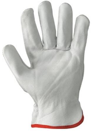 Guanto Fiore Bovino, Qualità Extra, Orlato. Colore Bianco